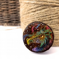 Rainbow dragon, wooden tree slice pyrography brooch. Rustic branch pin.