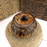 Wooden pyrography cats and feathers trinket pot with place on lid