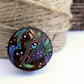 Happy rainbow dragon, wooden tree slice pyrography brooch. Rustic branch pin.