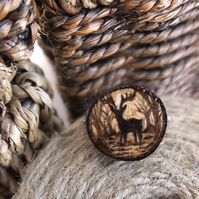 Stag silhouette, wooden tree slice pyrography brooch. Rustic branch pin.