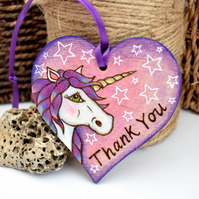 A unicorn thank you. Pyrography hanging heart decoration with colour.