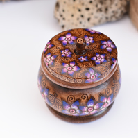 Purple flowers wooden pyrography trinket pot with place on lid