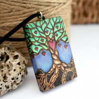 The love tree, chunky wooden pyrography pendant, tree of hearts.