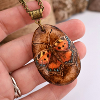 Pyrography small tortoiseshell butterfly on wood. British Wildlife gift.