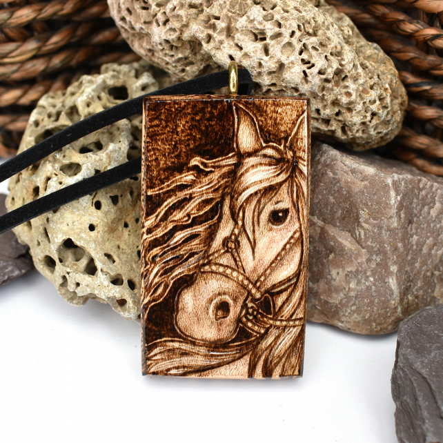 Viking horse, chunky wooden pyrography pendant, equine lover gift