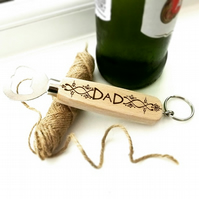 Dad Pattern Design Wooden Bottle Opener, Personalised with Pyrography