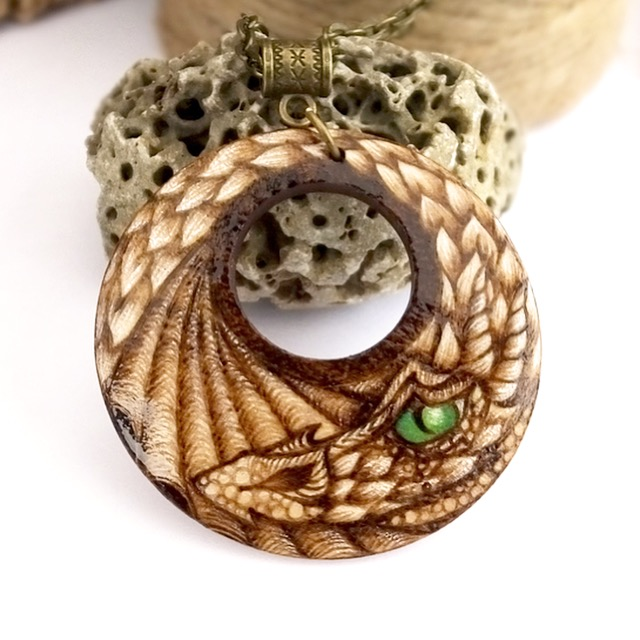 Watchful dragon's eye. Pyrography wood dragon pendant necklace.