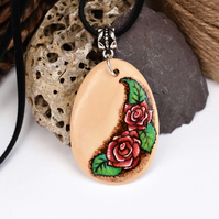 Red roses Pyrography Pendant. Wood teardrop necklace, Gardener, flower gift