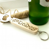 Wooden Bottle Opener, Personalised with Pyrography, Oak Leaf Design For Dad