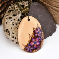 Pink posies Pyrography Pendant. Wood teardrop necklace, Gardener, flower gift