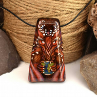 Red dragon World keeper, pyrography wooden pendant, wood gift.