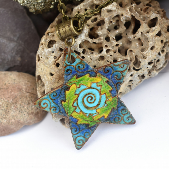 Into the Blue, Hand Burned and Coloured Pyrography Star Pendant