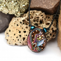 Rainbow dragon pyrography pendant, rustic branch slice necklace.