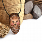Cute hedgehog pyrography wooden oval pendant. British wildlife, wood anniversary