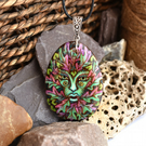 Green lady in the grove. Pyrography pagan tree goddess inspired wooden pendant.