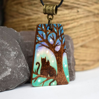 kitty couple cat silhouette pyrography wooden pendant necklace