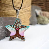 Pastel blossom tree, pyrography star pendant, tree of love.