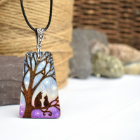 Little cat, big cat. Pyrography silhouette wooden pendant necklace