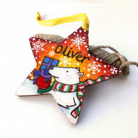 1x First Christmas star personalised wooden tree decoration
