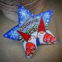 Gnomes! Star personalised wooden gnome pyrography Christmas tree decoration