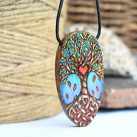 Tree of life pyrography pendant with heart and knot work, for wood anniversary