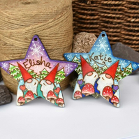 Gnomes! One Star personalised wooden gnome pyrography Christmas tree decoration