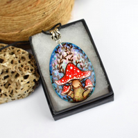 The toadstool teardrop. Pyrography wooden pendant necklace.