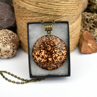 Twisted love tree. Pyrography wood pendant with tree of life.