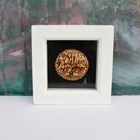 Believe. Fairies wooden pyrography miniature art box frame. Wood pebble.
