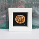 You got this. Pyrography miniature art box frame. Wood pebble. New job, moving.