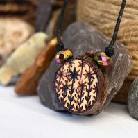 Rustic floral pyrography mini pendant, branch slice necklace with beads.
