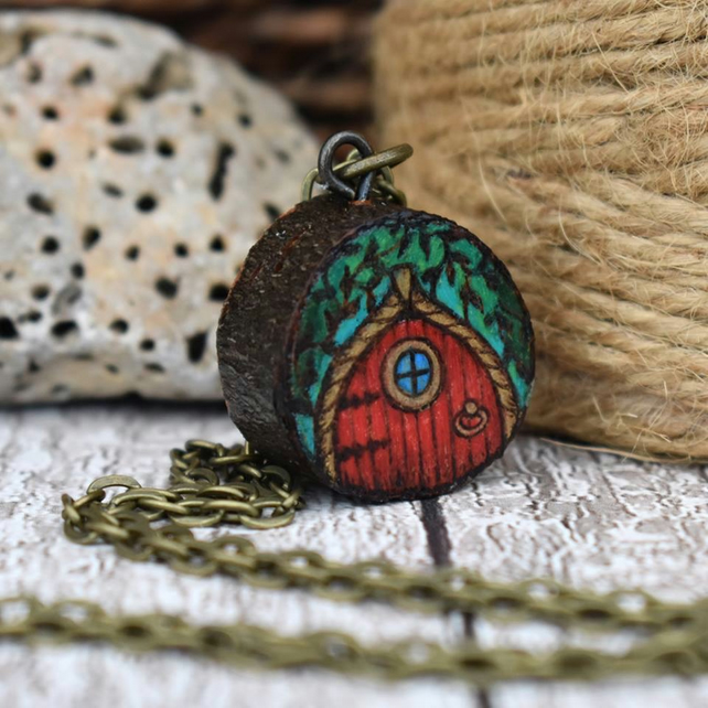 Red fairy door pyrography mini wood pendant, branch slice necklace.