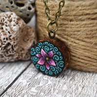 Pink blossom  pyrography pendant. Rustic branch slice nature necklace.