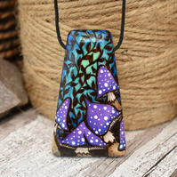 Purple toadstool pyrography pendant. Shroom necklace, nature lover gift.