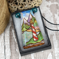 Lighthouse pyrography pendant. Candy stripe wooden necklace, wood anniversary.