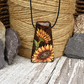 Sunny Sunflowers pyrography wooden necklace, wood anniversary.
