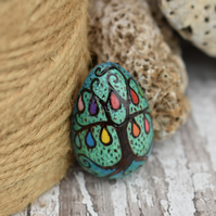 Rainbow teardrop egg shape wood brooch. Pyrography wooden tree of life.