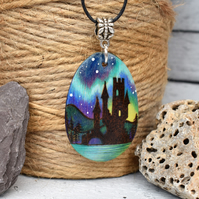 The lonely outpost. Pyrography aurora castle inspired wooden pendant.
