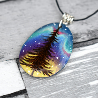 The last tree. Pyrography aurora pine tree inspired wooden pendant.