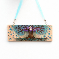 The Butterfly tree. Pyrography hanging plaque. Pagan tree of life.