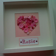 Handmade Button Heart Box Frame