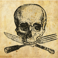 skull and cutlery