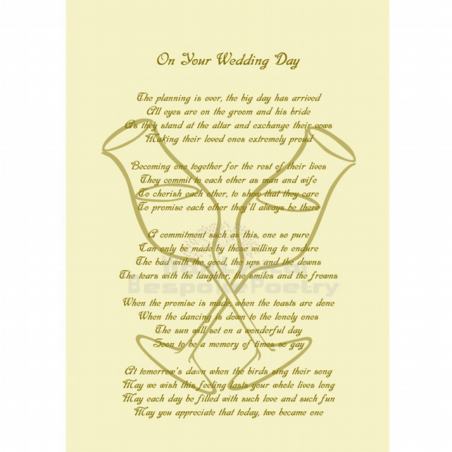 Wedding Gift Table Thank You Poem : Wedding Day Gift Marriage Poetry Gift Personalised Poem Art Print A4 ...