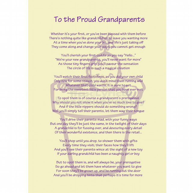 New Grandparents Baby Poem Gift New Baby Poetry Folksy