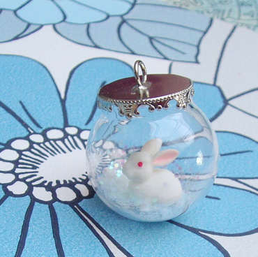 Bunny Rabbit Glass Ball Necklace on solid sterling silver dainty chain