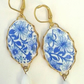 Blue  & White Floral Cabochon Earrings