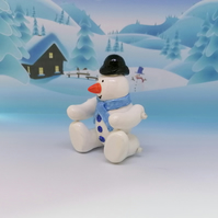 LC - Snowman Bowler hat and blue scarf - Christmas Ornament