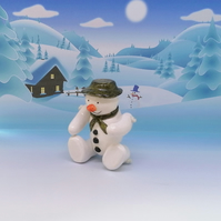 LC - Snowman Green hat and scarf - Christmas Ornament