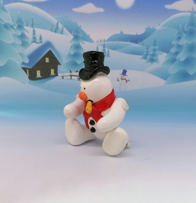 LC - Snowman Top hat and red scarf - Christmas Ornament
