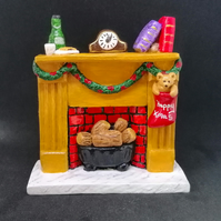 Christmas Fire place scene ornament